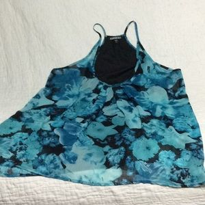 Express tank top in black and aqua size large